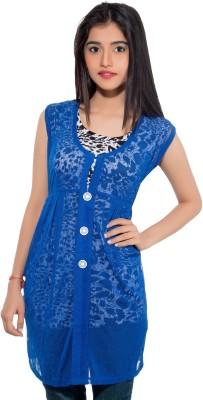 Membooz Casual, Party Short Sleeve Printed Women's Blue, Black Top