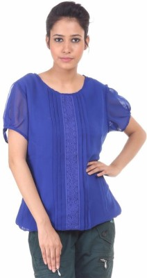 Fashion Planet Casual Short Sleeve Solid Women's Blue Top