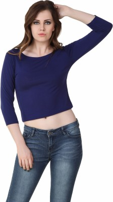 Big Pout Casual, Party, Formal, Festive, Beach Wear 3/4 Sleeve Solid Women's Blue Top