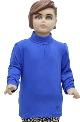 Urban Forest Casual Full Sleeve Solid Girl,s Blue Top