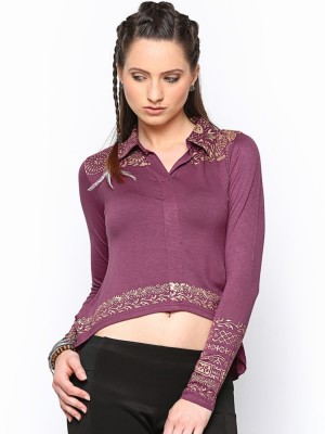 Paschime Casual Full Sleeve Printed Women's Purple Top