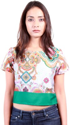 AR2 Casual, Party Short Sleeve Printed Women's Multicolor Top