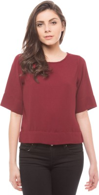 Shuffle Casual 3/4 Sleeve Solid Women's Red Top