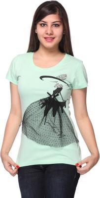 Strawberry Girl Casual Short Sleeve Self Design Women,s Light Green Top