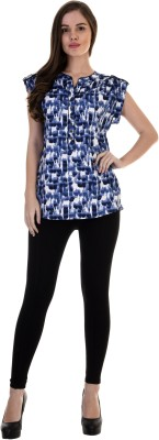 Antilia Femme Casual Short Sleeve Printed Women's Blue Top