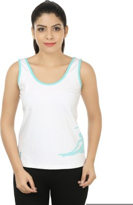 Stretchery Sports Sleeveless Solid Women's White Top