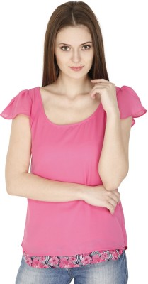 pinaki perryhills Casual Cap sleeve Solid Women's Pink Top