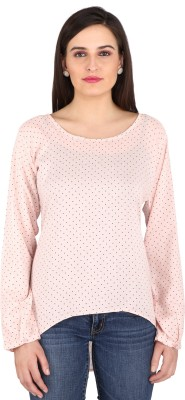 pinklady Casual Full Sleeve Polka Print Women's Pink Top