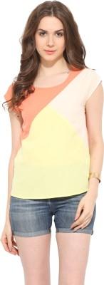 Leo Sansini Casual Cap sleeve Solid Women's Multicolor Top