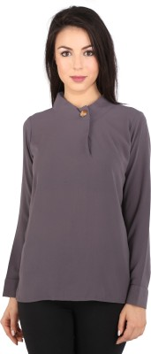 Tenn Casual, Party Full Sleeve Solid Women's Grey Top