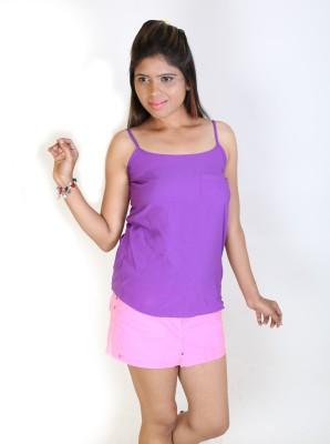 Fashion Fakir Casual Sleeveless Solid Women's Purple Top