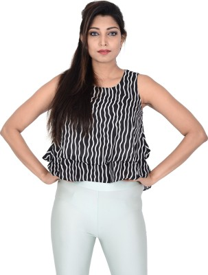 Danzon Casual, Party Sleeveless Solid Women's Black, White Top