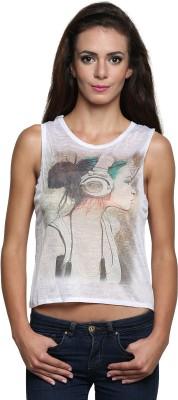 Wetex Premium Casual Sleeveless Printed Women's White Top