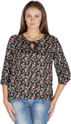 Mayra Party 3/4th Sleeve Printed Women's Black Top at flipkart
