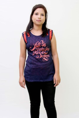 IKL Casual, Formal, Festive, Party Sleeveless Embellished Women's Blue Top