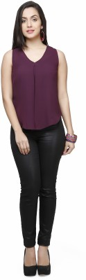 V&M Casual Sleeveless Solid Women's Purple Top