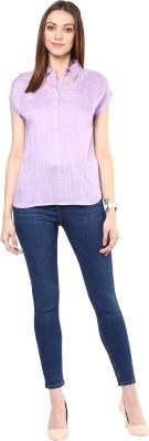 109F Casual Cap sleeve Solid Women's Purple Top