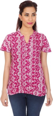 Clodentity Casual Short Sleeve Printed Women's Maroon Top