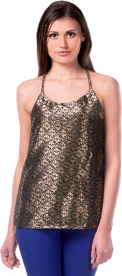 Miss Chase Party Sleeveless Solid Women's Gold Top