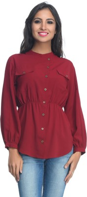 Rare Party Full Sleeve Solid Women's Maroon Top