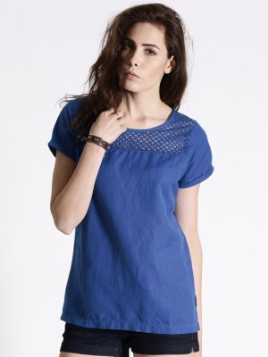 Roadster Casual Short Sleeve Solid Women's Blue Top
