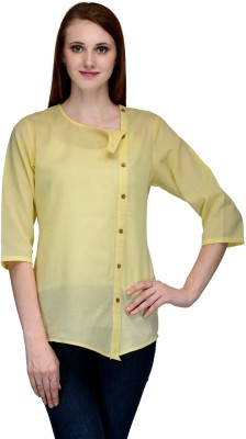 Natty India Casual 3/4 Sleeve Solid Women's Yellow Top