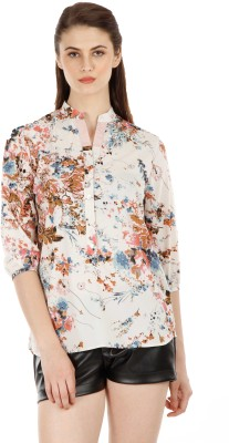 Fuziv Casual 3/4 Sleeve Printed Women's Multicolor Top