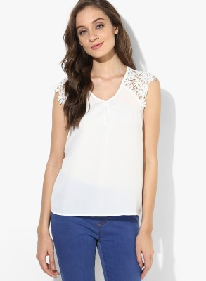 Only Casual Sleeveless Solid Women's White Top