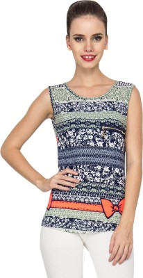Stylesambram Casual Sleeveless Printed Women's Multicolor Top