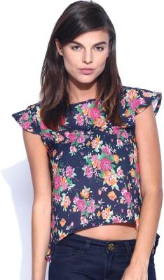 Dressberry Casual Cape Sleeve Printed Women's Dark Blue Top