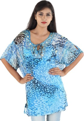 Megha Casual Butterfly Sleeve Printed Women,s Light Blue Top