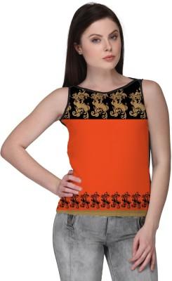 Avya Casual Sleeveless Floral Print Women's Orange Top