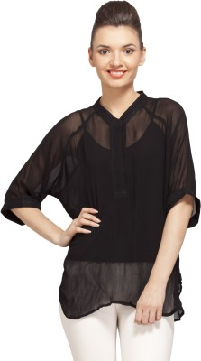 PrettyPataka Casual Short Sleeve Solid Women's Black Top