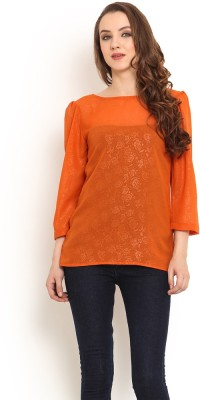Trend Arrest Casual 3/4 Sleeve Solid Women's Orange Top