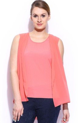 Mast & Harbour Casual Sleeveless Solid Women's Orange Top at flipkart