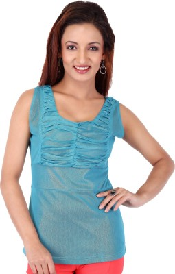Clo Clu Party Sleeveless Solid Women,s Light Green Top