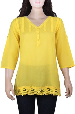 Mustard Casual Roll-up Sleeve Solid Women's Yellow Top