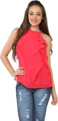 Tong Casual Sleeveless Solid Women's Pink Top