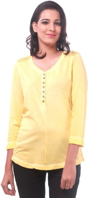 La Divyyu Casual Full Sleeve Solid Women's Yellow Top