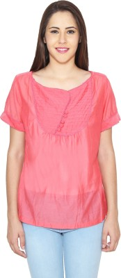 CJ15 Casual Short Sleeve Solid Women's Pink Top