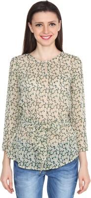 Eva De Moda Casual Full Sleeve Printed Women's Green Top