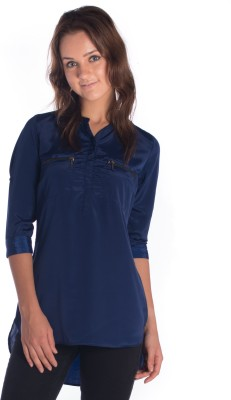 Miss Rich Casual 3/4 Sleeve Solid Women's Blue Top