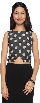 Francisca & Dominique Casual Sleeveless Polka Print Women's Black Top