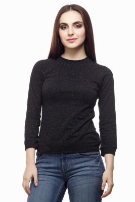 Miss Queen Casual 3/4 Sleeve Printed Women's Black Top