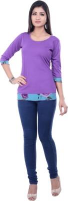 Rene Casual 3/4 Sleeve Solid Women's Purple Top