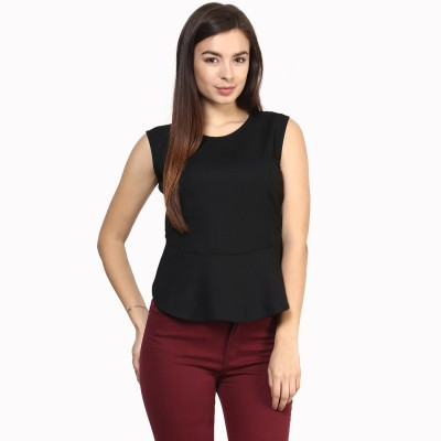 Rare Casual Sleeveless Solid Women,s Black Top