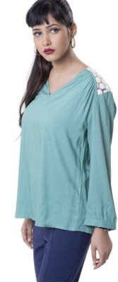 The Office Walk Formal 3/4 Sleeve Solid Women's Green Top
