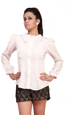 Schwof Party Full Sleeve Solid Women's White Top