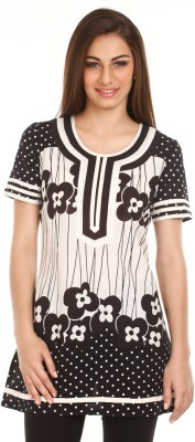 Mustard Casual Short Sleeve Floral Print Women's Black Top