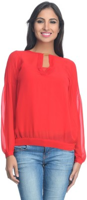 Rare Party Full Sleeve Solid Women's Red Top